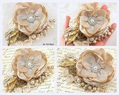 Hair Clip Bridal Wedding Fascinator Gold Tan Ivory by SolBijou