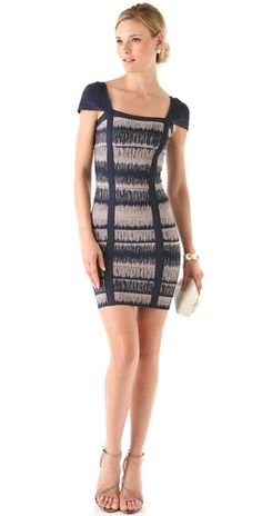 Herve Leger Cap Sleeve Printed Dress  #shopbop