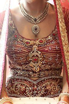 red bridal lengha  see more inspiration @ http://www.ModernRani.com