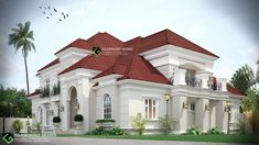 Architectural design of a proposed classical 6 bedroom bungalow with pent house and double volume living room to be located in Nigeria.  For inquiries  Call 07062860533  WhatsApp 08063464475  Glamordotdesign@yahoo.com Bungalow Style House, Bungalow House Plans, Dream House Plans, Dream Home Design, Modern House Design, Modern Architecture House, Architecture Design, House Outside Design, Duplex Design