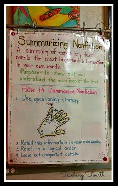 Finding Details and Writing Summaries. She uses a non-fiction text for this lesson. There are examples, anchor charts, and a product (someone else's) advertised. There is also a link to a free article. Focused on fourth grade. Summary Anchor Chart, Ela Anchor Charts, Reading Anchor Charts, Summarizing Anchor Chart, Summarizing Activities, Teaching Reading Strategies, Reading Lessons, Reading Comprehension, Math Lessons