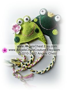 You Are Toad-lly Cute Frog crochet hat pattern, via Ravelry, $7.99, baby through adult sizes,