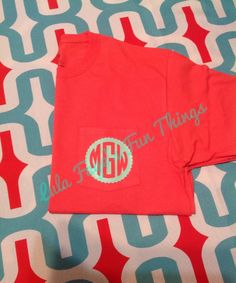 A personal favorite from my Etsy shop https://www.etsy.com/listing/231587941/coral-pocket-t-shirt-with-mint-scalloped