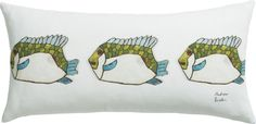 """fish 23""""x11"""" pillow with feather-down insert"""