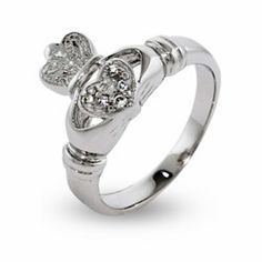 Sterling Silver Jewelry - Sparkling Cubic Zirconia Sterling Silver Irish Claddagh Ring