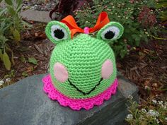 Crochet Newborn Froggy Beanie Hat /  by LollyBopBoutique on Etsy, $20.00