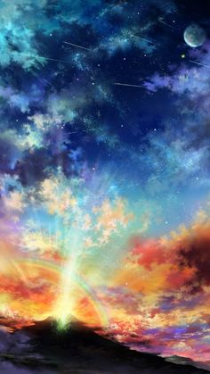 Image shared by anime Kida. Find images and videos about cool, anime and sky on We Heart It - the app to get lost in what you love. Fantasy Landscape, Fantasy Art, Wow Art, Natural Scenery, Beautiful Scenery, To Infinity And Beyond, Cool Backgrounds, Art Graphique, Anime Scenery