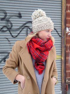 beanie + plaid tartan scarf + camel coat , winter outfit