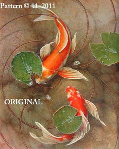 $10   2 Koi... ~Counted~ Cross Stitch Pattern ~Computer Generated~ Oriental Fish