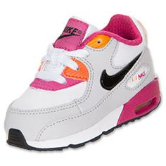 The Toddler Nike Air Max 90 Running Shoes are a classic look for your toddler's toes! Whether she's running around the yard or (like most toddlers we know) getting into some some sort of trouble, her feet will be cushioned in a soft ride.   The full grain upper provides both durability and comfort, while the PU midsole and Nike Air unit provide lightweight cushioning. Plus, the outsole is made of solid rubber in a waffle pattern for traction and durability that hold up to your toddl...