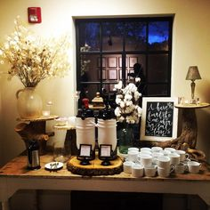Coffee anyone?  Fun coffee station at Homewood, Asheville Wedding Venue #ashevillewedding #homewoodwedding #ashevilleweddingvenue