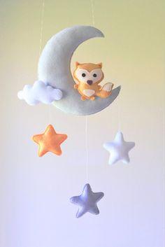 Fox Cloud Stars and Moon Felt handmade Nursery Mobile