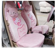 Pink 18pc Hellokitty Car Front Saddle Mirror Seat Covers Car Cushion Hello kitty