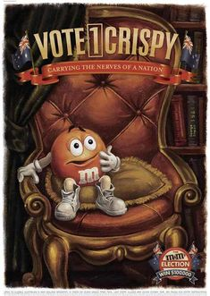Vote for your favourite M&M poster design. Vote poster designs from the advertising campaign by M&M's chocolate candy. M&m Characters, Miss Green, M Wallpaper, Election Votes, M M Candy, Melt In Your Mouth, Favorite Candy, Creative Advertising, Print Ads