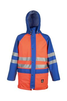 WATERPROOF WARNING JACKET Model: 400R The jacket is fastened with hidden zip under press studded flap. The model has a hood, 2 welded pockets with flaps protection, sleeves adjustment and eyelets ventilation under arms. To remove excess water there is a gutter at bottom of jacket. Reflective tapes on the jacket make workers more visible. The model is made on 2 waterproof fabrics called Plavitex and Plavitex Fluo.