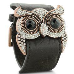 Leather and Crystal Owl Cuff Bracelet   SuperJeweler  $28.99