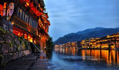 Fire !!! Fenghuang Ancient Town is located in Xiangxi Prefecture, Hunan Province, People's Republic of China