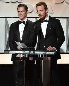 His hair is Long and coppery.. Gorgeous! Michael and Billy Crudup speak onstage during the 69th Annual Directors Guild of America Awards at The Beverly Hilton Hotel on February 4, 2017 in Beverly Hills, California. Hotness overload! #MichaelFassbender #Fassy #Fassbender #BillyCrudup