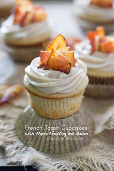 French Toast Cupcakes with Maple Frosting and Bacon - repinned by @LaVieAnnRose