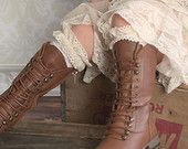 Lace Ruffle Girls Boot Cuffs Socks- Lace Leggings-Ruffle Socks-Girls Ruffle Boot Stocks-Lace Ruffle Leggings-Cream-Brown- Rustic Flower Girl
