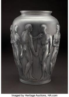 "LALIQUE ""Palestre"" A Glass Vase with charcoal gray patina, Marcilhac no. designed 1928 Marks: - Available at 2009 December Signature Glass Ceramic, Ceramic Art, Cut Glass, Glass Art, Art Nouveau, Sculpture Art, Sculptures, Lalique Perfume Bottle, Crystal Collection"