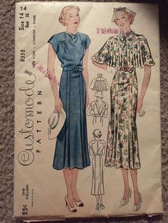 Customode 8352 Dress-Convertible Back W/Plaited Cape 30s FF complete Edges of FF have small tears Sz14/32 sld 36.99+2.72 9bds 8/28/15