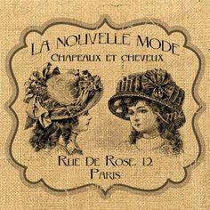 La Nouvelle Mode   hat woman paris romantic ads paris fashion print on iron transfer fabric gift tag burlap label napkins pillow Sheet n.240