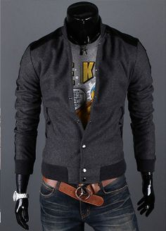 Men's K-POP style Stand Collar Up Faux Leather Trim Jacket