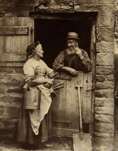 Milk Maid and the Farm Hand, Whitby, North Yorkshire, England - Late 1800s