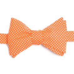 Nœud papillon Mini pois mandarine  Tangerine with ploka dots bow tie