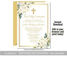 Gold First Holy Communion Invite, Girl, Printable First Communion Invitation, Corjl Template Printable Invitations, Party Invitations, Invite, Printables, First Communion Invitations, Picture Rocks, Candy Bar Wrappers, First Holy Communion, School Colors