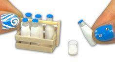 Miniatura de botella de leche y caja de leche para muñeca - DIY Tutorial