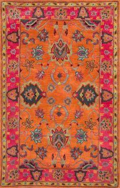 Overdye RE21 Orange Rug   Traditional Rugs