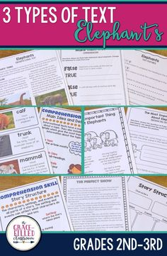 Second and third grade teachers this Elephants reading has 3 types of text! One product with Informational Text, a Fictional Story, and a Non-Fiction Poem.  Each literature type has 4-7 printables that are Common Core aligned and cover many of the ELA standards within the 3 major clusters: Key Ideas and Details, Craft and Structure, and Integration of Knowledge and Ideas.|Elephants|Reading Strategies|Poetry|Informational Text|
