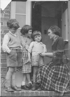Brother, Peter, Audrey and Richard with our lovely mum, Brenda Nesbitt, kneeling. Photograph taken by the Daily Mirror in 1957.