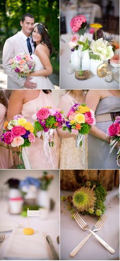 the bridesmaids bouquets are to die for cute. so colorful and fun!