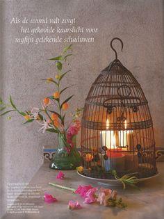 BLOSSOM BROCANTE in de Seasons (Nr 6 2014) Op een prachtige foto in het artikel 'Brocante op de veranda' is onze vogelkooi omgedoopt tot een rustieke lantaarn www.blossombrocante.nl