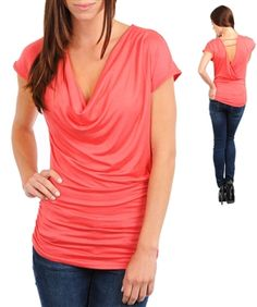 Cowl Neck Short Sleeve Coral Top Blouse Casual Shirt **Lyndsey's Comments: I love everything about this top. The draped neck would look nice on me and the layered look would hide my stomach. Could wear with shorts or jeans.