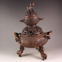 Superb Chinese Red Copper 3 Legs Double Ears Incense Burner w Marked