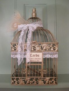 vintage style champagne bird cage wedding card holder with lace and pearls wedding card holder