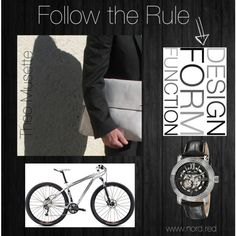 """DESIGN FORM FUNCTION"" by nord-red on Polyvore www.nord.red #mensfashion #mensbags #lucienpiccard #watches #specialized #bicycles #blackandwhite #followtherule"
