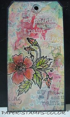 A lot to see on this tag.. gesso, Nuance, stamping and heat embossing, stencilling.     Plusieurs choses à voir sur cette étiquet...