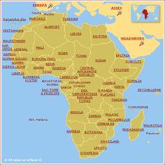 Land Afrika kort
