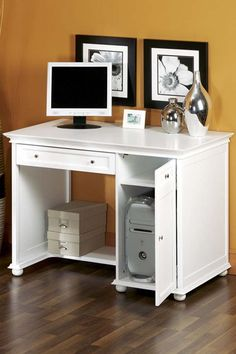 Home Computer Desks Modern Corner Computer Desk Furniture With Untreated Made Of… – Home Office Design Corner Home Design, Home Office Design, Home Office Decor, White Home Office Furniture, White Furniture, Computer Desks For Home, Der Computer, Home Office Closet, Lounge