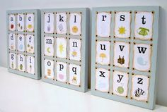 Alphabet flashcards mounted to painted wood boards make a unique baby gift and fun nursery decor. ∙ CLICK TO CUSTOMIZE AND ORDER ∙