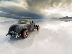 Storm rolling in at the Bonneville salt flats,Utah.