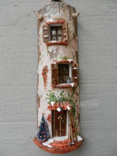 Natale Tegole antiche decorate e dipinte a mano http://www.coppobuonricordo.it/2013/11/natale.html #handmade