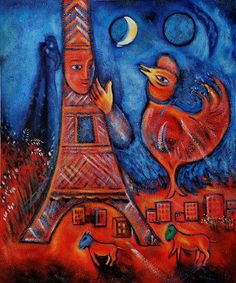 """Marc Chagall: The Eiffel Tower ~ """"When Matisse dies, Chagall will be the only painter left who understands what color really is."""" ~Pablo Picasso"""