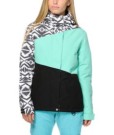Head for the mountains with a fresh look with the mixed tribal and colorblock design, while the water-resistant coating and poly insulated fill keeps you warm a dry for a day of shredding.