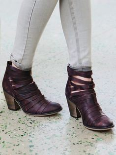 Hybrid Heel Boot | Stacked heel strappy leather ankle boots with full coverage to mid-instep. Zip up closure on back.   *By Free People   *Artisan crafted from fine leathers and premium materials, FP Collection shoes are coveted for their signature vintage aesthetic.